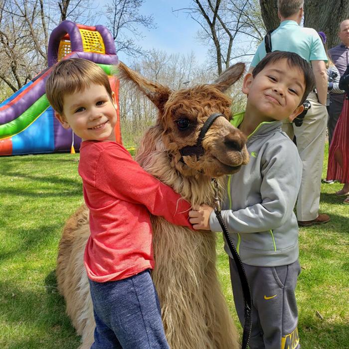 Cute Kids with Llama